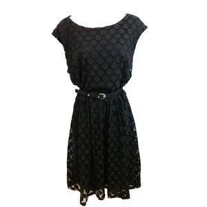 Alfani Sleeveless Black Belted Mesh Dress XL